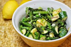 Fresh asparagus and zucchini are grilled to perfection, then tossed in a lemon and basil sauce with tangy garlic, scallions, and red pepper flakes.  I love this salad because it is a great way to u…