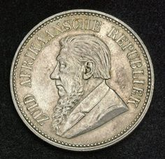 South African Republic Silver Half Crown Coin (2-½ Shillings) of 1892.  Numismatic Collection, silver coins. Bearded bust of Paul Kruger as President.