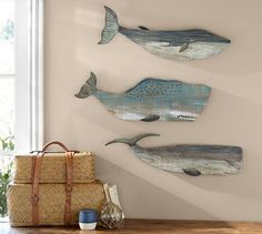 Painted Wood Whales Wall Art, Set of 3   Pottery Barn