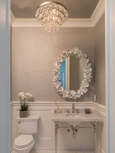 Ways to Give New Life to Old Ceilings Powder room ideas-I love the wainscoting, wall paper and light fixture. Simple and elegant.Powder room ideas-I love the wainscoting, wall paper and light fixture. Simple and elegant. Bad Inspiration, Bathroom Inspiration, Bathroom Ideas, Loft Bathroom, Remodel Bathroom, Bathroom Colors, Bathroom Designs, Bathroom Storage, Bathroom Toilets