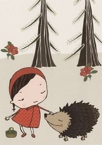 The Hedgehog - postcard illustration by Terese Bast. Postcard Printing, Illustration Art, Illustrations, Rooster, Print Design, Fairy Tales, Snoopy, Design Inspiration, Disney Characters