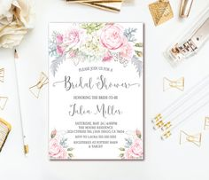 41 best bridal shower invitations images on pinterest in 2018 pink gray floral bridal shower invitation filmwisefo