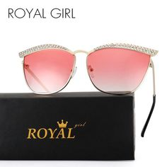 ROYAL GIRL Cat Eye Sunglasses Women Crystal Diamond Luxury Sun Glasses  Women Eyewear Vintage Design Oculos De Sol Feminino ss248 fd02a8c87d