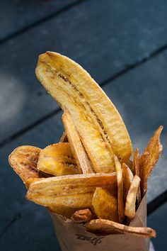 buy plantain at the store  slice. lightly fry in olive oil or grape seed oil. add a little salt if you want. tastes like fries