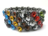 Multicolor Crystal stud metal stretch bracelet $12.99