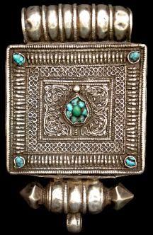 Tibetan silver & turquoise locket (ga'u)