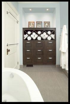 Grey blue bathroom with espresso vanity