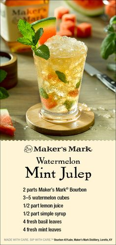The Maker's Mark Watermelon Mint Julep: layers of herbal, fruity depth meet th. - drinks - The Maker's Mark Watermelon Mint Julep: layers of herbal, fruity depth meet th. Whiskey Drinks, Bar Drinks, Cocktail Drinks, Cocktail Recipes, Cocktails, Alcoholic Drinks, Beverages, Refreshing Drinks, Summer Drinks