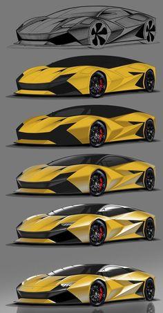 Lambo illustration process by P. Car Design Sketch, Car Sketch, Design Cars, Sketch Drawing, Logo Design, Pagani Huayra, Carros Bmw, Mercedes Benz Sls, Lamborghini Cars