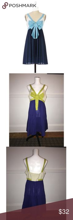 """Eloise Sz L Anthro Ahoy Chemise Dress EUC 🔸Eloise Sz L Anthro Ahoy Chemise Dress🔸Size L🔸Eloise from Anthropologie🔸Light and airy🔸Swiss dots, colorblocking and a morning-bright bow🔸Blue/Cream/Green color- Dress is pictures 2-4🔸Excellent used condition🔸 100% Cotton 🔸Bust: 19.25"""" across the front, lying flat🔸 Back is smocked and has stretch🔸Length: 36"""" from shoulder to hem🔸 Anthropologie Dresses Mini"""