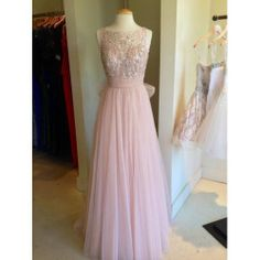 Long Bead Backless Blush Pink Tulle Prom Dress A-line Straps V-back Floor-length Graduation Dress Formal Dress Homecoming Dress 2014 on Etsy, $139.00
