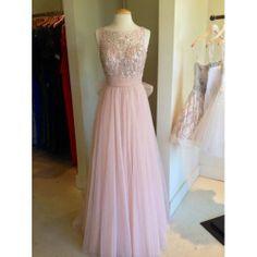 Long Bead Backless Blush Pink Tulle Prom Dress A-line Straps V-back Floor-length Graduation Dress Formal Dress Homecoming Dress 2014 on Etsy, $139.00