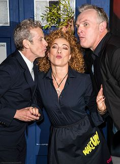 Alex Kingston, Peter Capaldi, and Greg Davies at the London premiere of The Husbands of River Song (December 16, 2015)