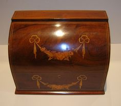 Magnificent Marquetry Inlaid Mahogany Stationery / Writing Box c.1880 from puckerings on Ruby Lane