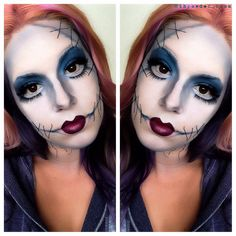 Sally Halloween Makeup #nightmarebeforechristmas #makeup #mac