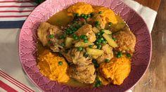 Pollo a la sidra en cacerola con puré de zanahorias y garbanzos