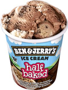 half baked: vanilla and chocolate ice cream with brownie bits and cookie dough!!!! Welcome to heaven...we've been waiting for you!