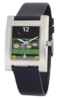 South Park Men's D1528S060 Kuban Collection Towelie Black Leather Watch South Park. $29.99. Genuine leather strap with buckle. Precise Japanese-quartz movement. Durable mineral crystal. White dial with South Park artwork. Water-resistant to 99 feet (30 M)