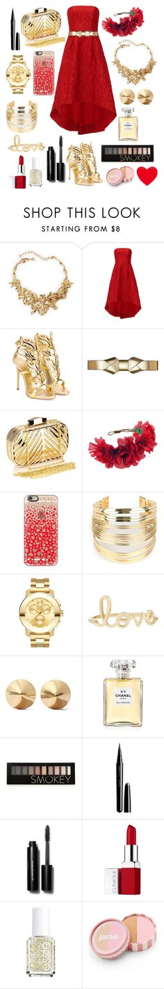 """""""Valentine's Day❤️"""" by siamesecat-1 ❤ liked on Polyvore featuring Oscar de la Renta, ML Monique Lhuillier, Giuseppe Zanotti, Marni, Chicnova Fashion, Rock 'N Rose, Casetify, WithChic, Movado and Sydney Evan"""