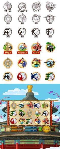"Graphic design of icons, objects, cards and interface for the game slot-machine ""China"" http://slotopaint.com:"