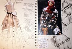 This sketchbook illustrates an excellent strategy in a fashion design project. A photographs of a conceptual model (the cardboard dress on the left) has been drawn over, developed and extended. The work of relevant artists and designers has been analysed and dissected, helping to inspire patterns and a bold aesthetic.