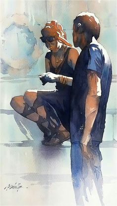 Day Four Hanging Out- Rome Thomas W Schaller. Watercolor. 17x11 Inches - 11 Dec. 2016 Painting pairs - or groups - of people is a great way to study the composition of shapes and patterns of light . Thomas W Schaller