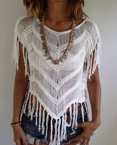 White V Fringed Summer Top. Very Soft and Comfortable. by PadMa88 on Etsy
