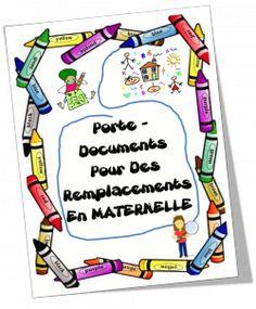 Présentations pour classeur du remplaçant Organisation Administrative, Free Frames, Document, Class Management, Ms Gs, Kindergarten, School, Coin, Blog