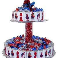 Candy Bar Cake - Spiderman Theme from Sweet Assumptions