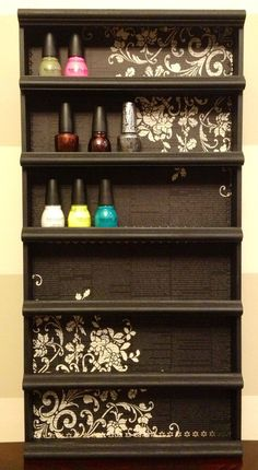 NEED THIS for my walk in closet - in pink/white - ackkkkk so great!!!  Nail Polish Rack, Poetic byAlegory - Various Color Frame Options via Etsy