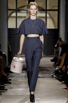 Balenciaga striped cape like crop top and high waist  trouser / SS2013