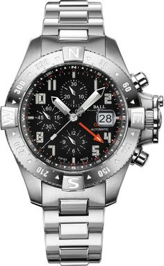 """BALL Engineer Hydrocarbon Spacemaster Orbital II Chronograph Watch """"Ball is no stranger to creating watches tied to modes of transportation...most commonly associated with the railroads, as that's where the company got its start over a hundred years ago... people may not be as familiar with their ties to aerospace. Ball has partnered with Brian Binnie (the pilot of Virgin Galactic's SpaceshipOne) for some time now, and have developed features to help watches withstand shock of rockets…"""