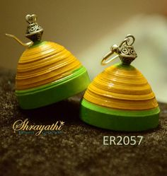 Yellow Paper Jhumka by Shrayathi Price : Rs.355 Buy from Shrayathi online store - http://www.shrayathi.com/Earrings  -   Buy this Earring online http://www.shrayathi.com/Yellow-Paper-Jhumka    This jhumka is made up of yellow and green color paper. Oxidized silver bead makes this jhumka more beautiful.