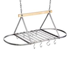 Industrial Kitchen Vintage-Style Ceiling Hanging Pot & Pan Rack is a height-adjustable kitchen storage rack with 8 hanging hooks & fittings. Hanging Pans, Pot Rack Hanging, Hanging Storage, Storage Racks, Ceiling Storage, Ceiling Hanging, Wood Ceilings, Kitchen Collection, Modern Industrial