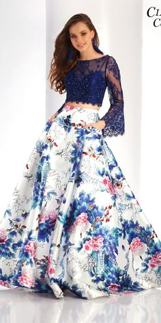 Two Piece Clarisse Floral Print Prom Dress - Clarisse - African Fashion trends Floral Prom Dresses, Indian Gowns Dresses, Unique Prom Dresses, Party Wear Dresses, Stylish Dresses, Cute Dresses, Beautiful Dresses, Evening Dresses, Fashion Dresses