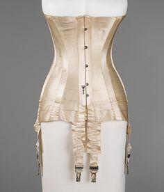 Corset Date: ca. 1915 Culture: French Medium: silk, bone, metal, elastic Accession Number: 2009.300.2896a–c