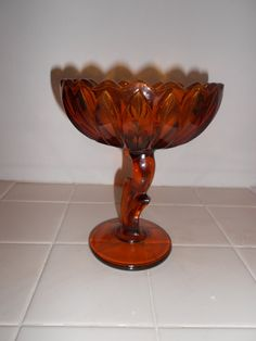 Indiana Glass Amber Lotus Blossom Compote ....flea market find