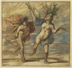 "This drawing depicts a crucial moment in a myth from Ovid's Metamorphoses when a nymph, Daphne, is transformed into a laurel tree to escape the advances of the love-struck god Apollo. ""Apollo and Daphne,"" about 1640, Jan Boeckhorst."
