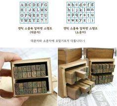 Alphabet timbre en caoutchouc en bois 28pcs des par StickersKingdom