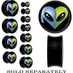 Kissing Blue Green Aliens Saddle Plug in Black Acrylic