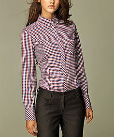 Look at this Red Plaid Button-Up on #zulily today!