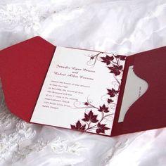 Red fall wedding pocket invitations