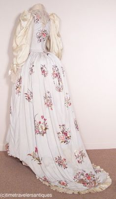 c1889 Embroidered Pale Blue Silk Reception Gown