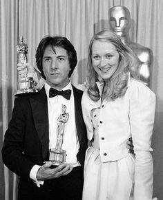 Dustin Hoffman and Meryl Streep with their Oscars for Kramer Vs. Kramer (1979)