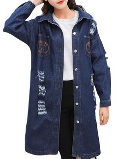 7399a752b7 ONTBYB Womens Leisure Long Sleeves Destroyed Denim Midi Jacket Blue M      More info could be found at the image url. This link participates in Amazon  ...