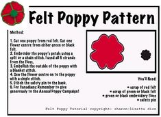 how to make poppies with felt Poppy Template, Remembrance Day Art, Poppy Images, Felt Crafts Patterns, Fabric Crafts, Wool Quilts, Scrappy Quilts, Poppy Brooches, Poppy Pattern