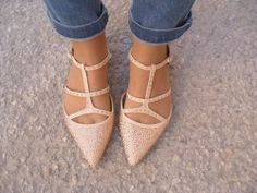 NEW ZARA BEIGE NUDE POINTED SHINY BALLERINA FLAT RHINESTONES SHOES WITH STRAPS!