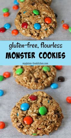 Easy flourless cookie that's so yummy! Y… Gluten-free Monster Cookies Recipe. Easy flourless cookie that's so yummy! You can even switch up the colors of M&Ms for holidays or parties! Cookies Sans Gluten, Dessert Sans Gluten, Bon Dessert, Gluten Free Cookie Recipes, Gluten Free Sweets, Gluten Free Oats, Gluten Free Baking, Snack Recipes, Dessert Recipes