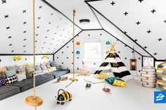 Transform your attic into a dreamy playroom with plenty of space for the little ones.