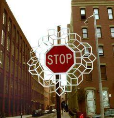 aakash nihalani street art intervention stop sign dumbo